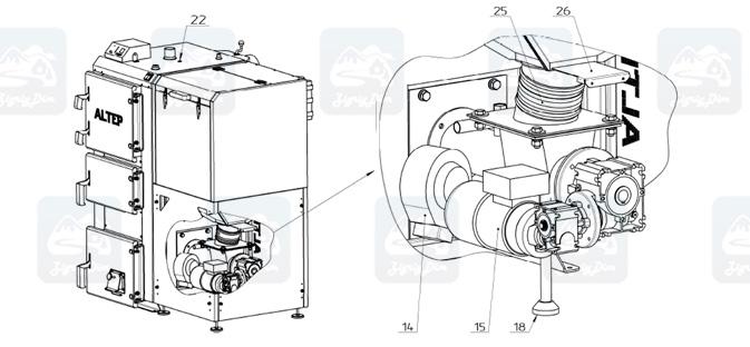 Схема пеллетного котла с автоматической подачей топлива Altep KT-2ESH