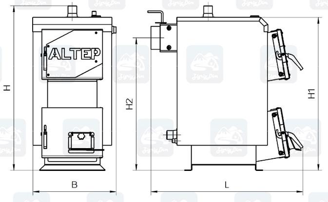 Габаритные размеры твердотопливного котла Altep Mini (12-16кВт)