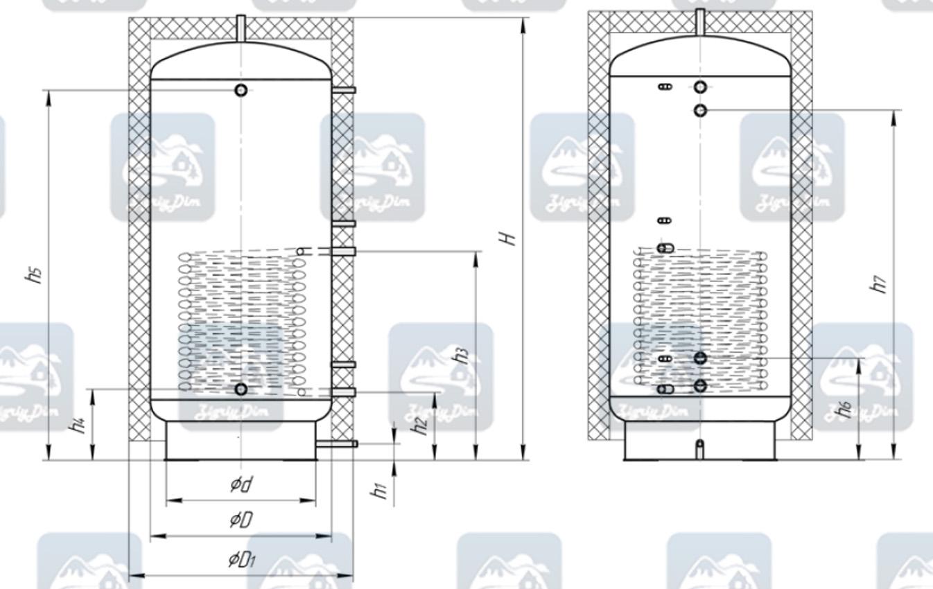 Схема теплоаккумулятора Альтеп ТА1 с нижним теплообменником