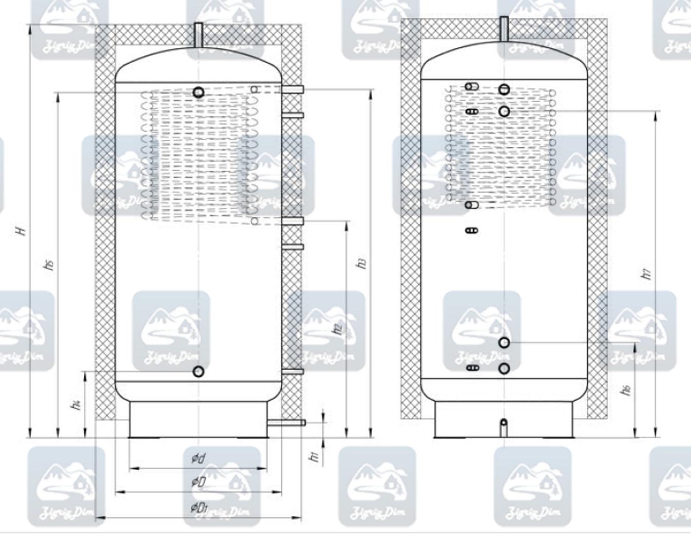 Схема теплоаккумулятора Альтеп ТА1 с верхним теплообменником