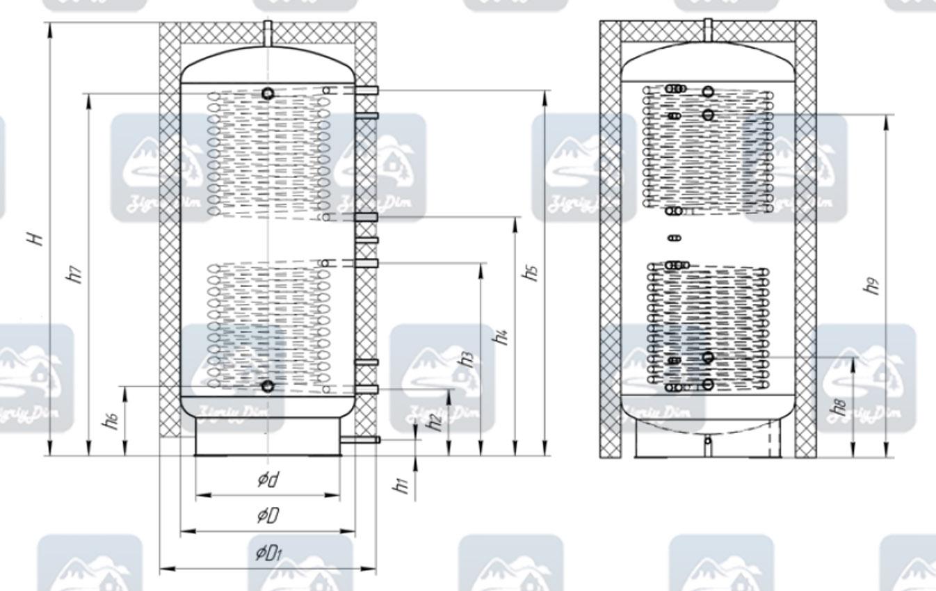 Схема теплоаккумулятора Неус ТА-2 с двумя теплообменниками