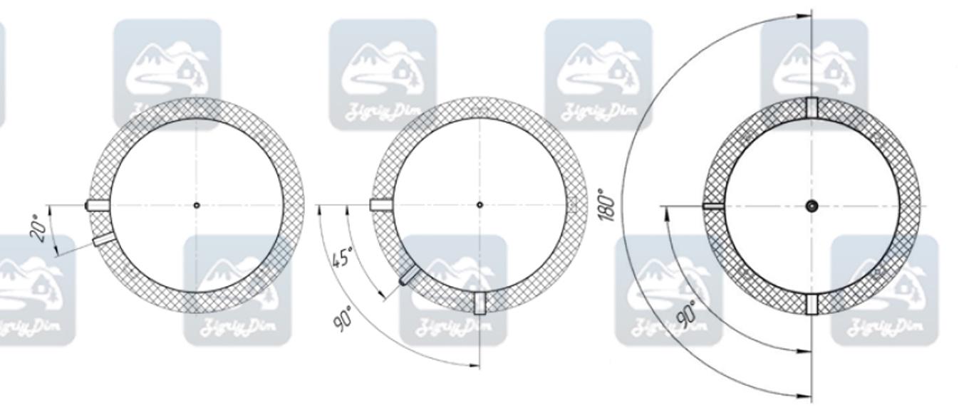 Схема размещения патрубков на теплоаккумуляторе Альтеп ТА90-TA180