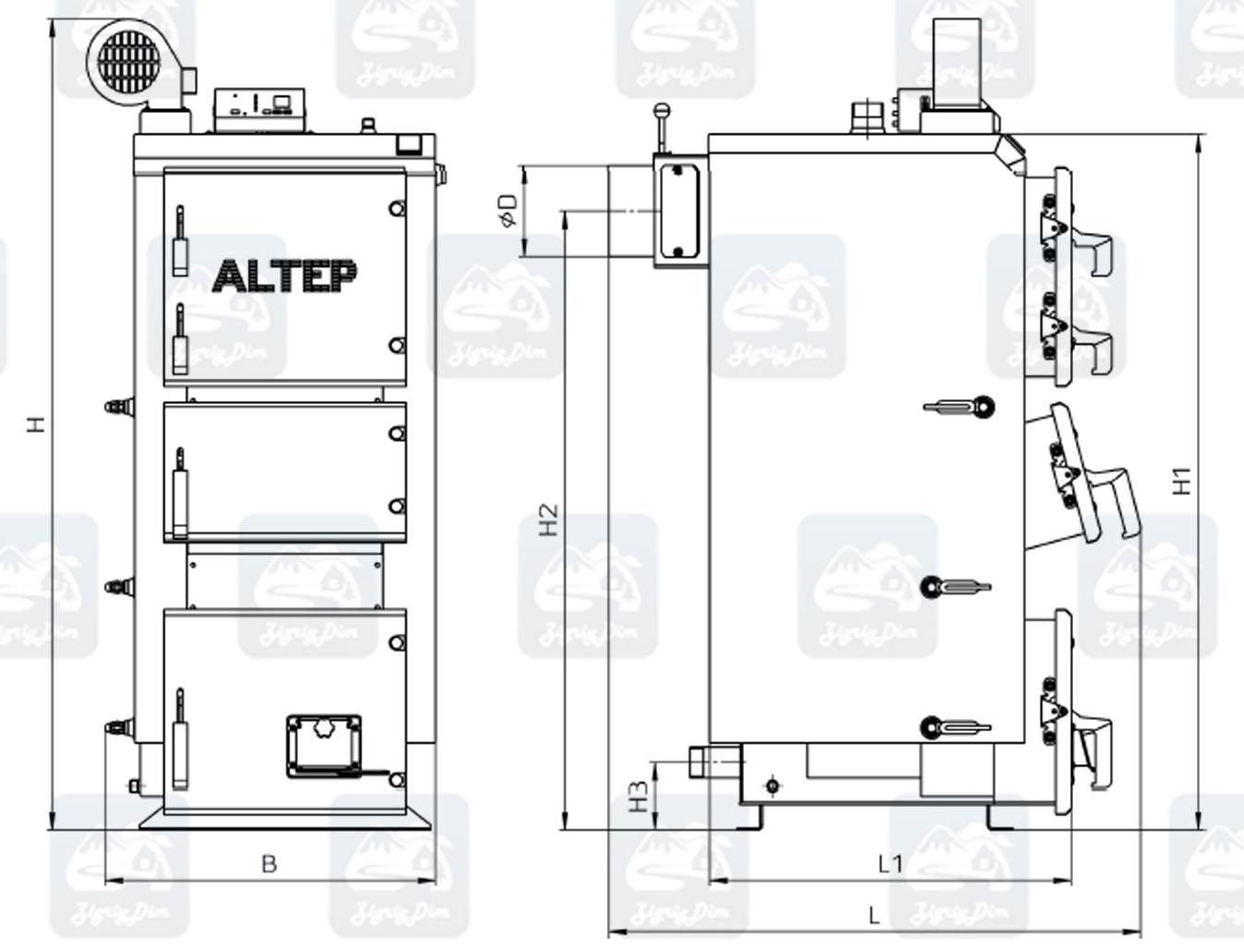 Габаритные размеры твердотопливного котла Altep KT-2E / Duo Plus (17-38 кВт)