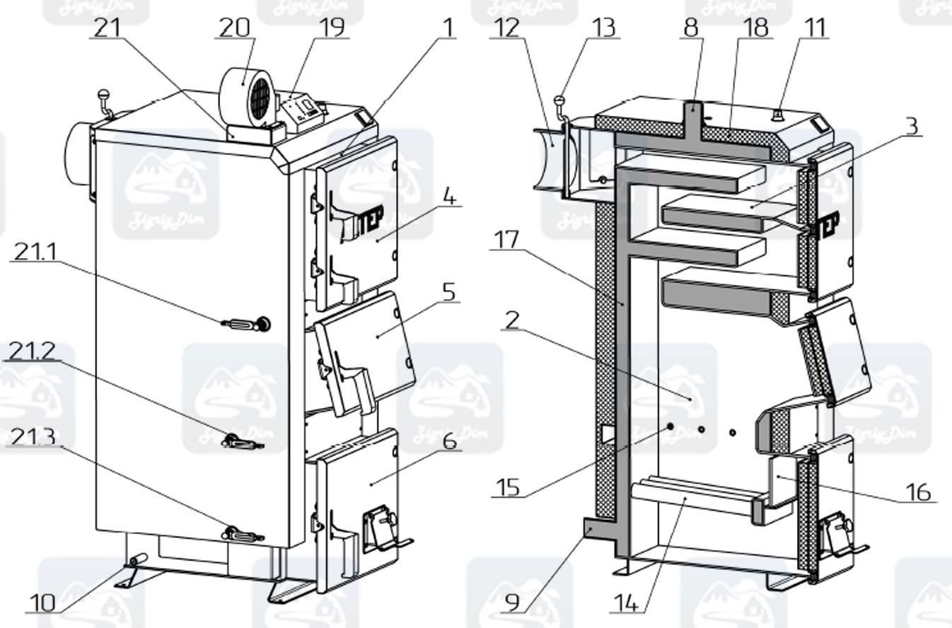 Схема твердотопливного котла длительного горения Altep KT-2E / Duo Plus (17-38кВт)