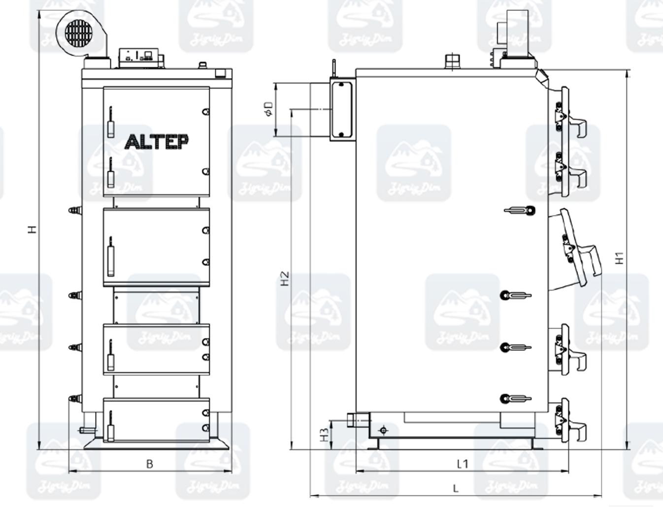 Габаритные размеры твердотопливного котла Altep KT-2E / Duo Plus (50-120 кВт)
