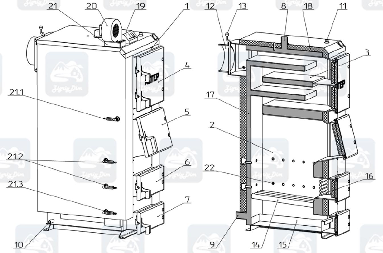 Схема твердотопливного котла длительного горения Altep KT-2E / Duo Plus (50-120кВт)