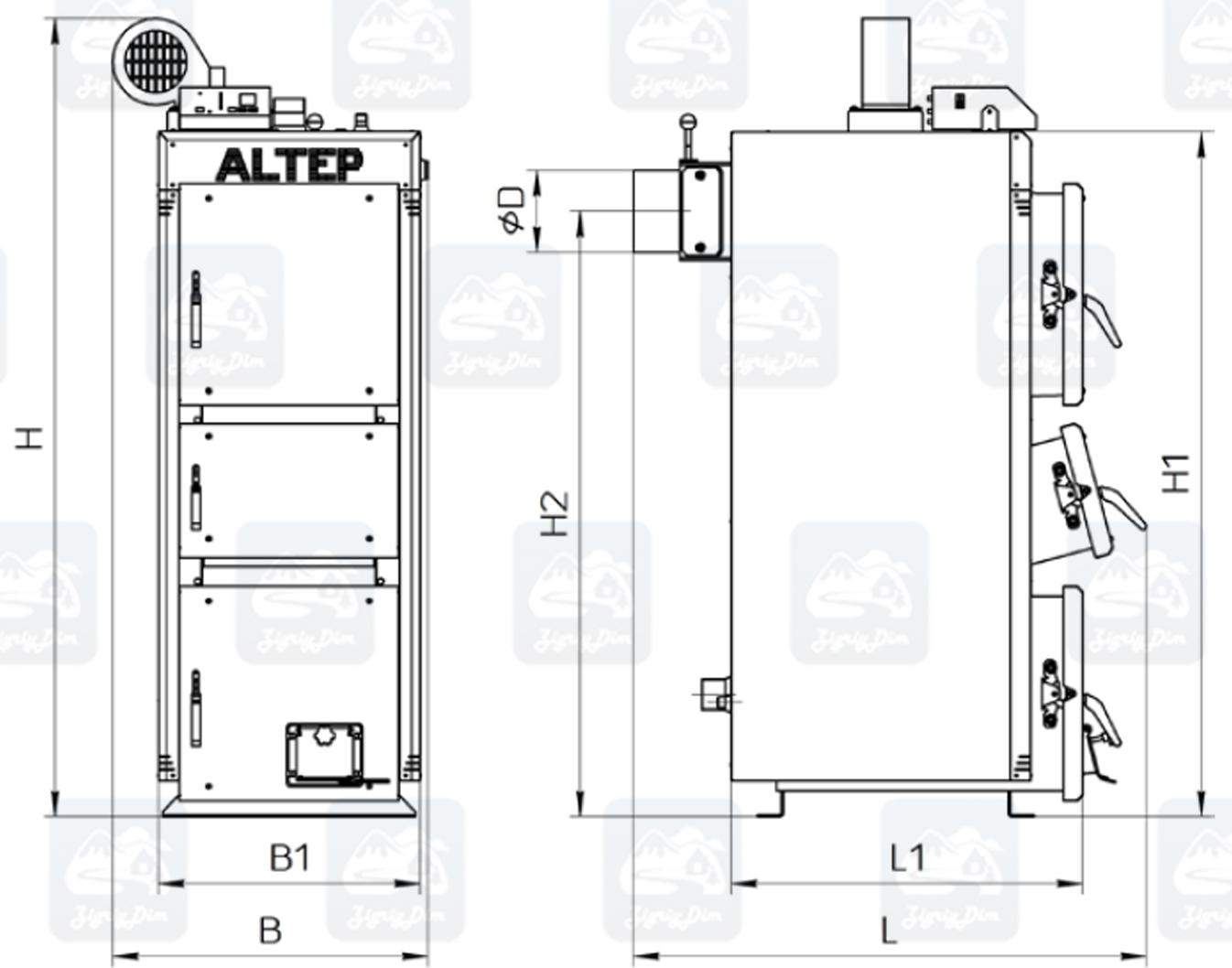 Габариты твердотопливного котла длительного горения Altep KT-2EN (15-40кВт)