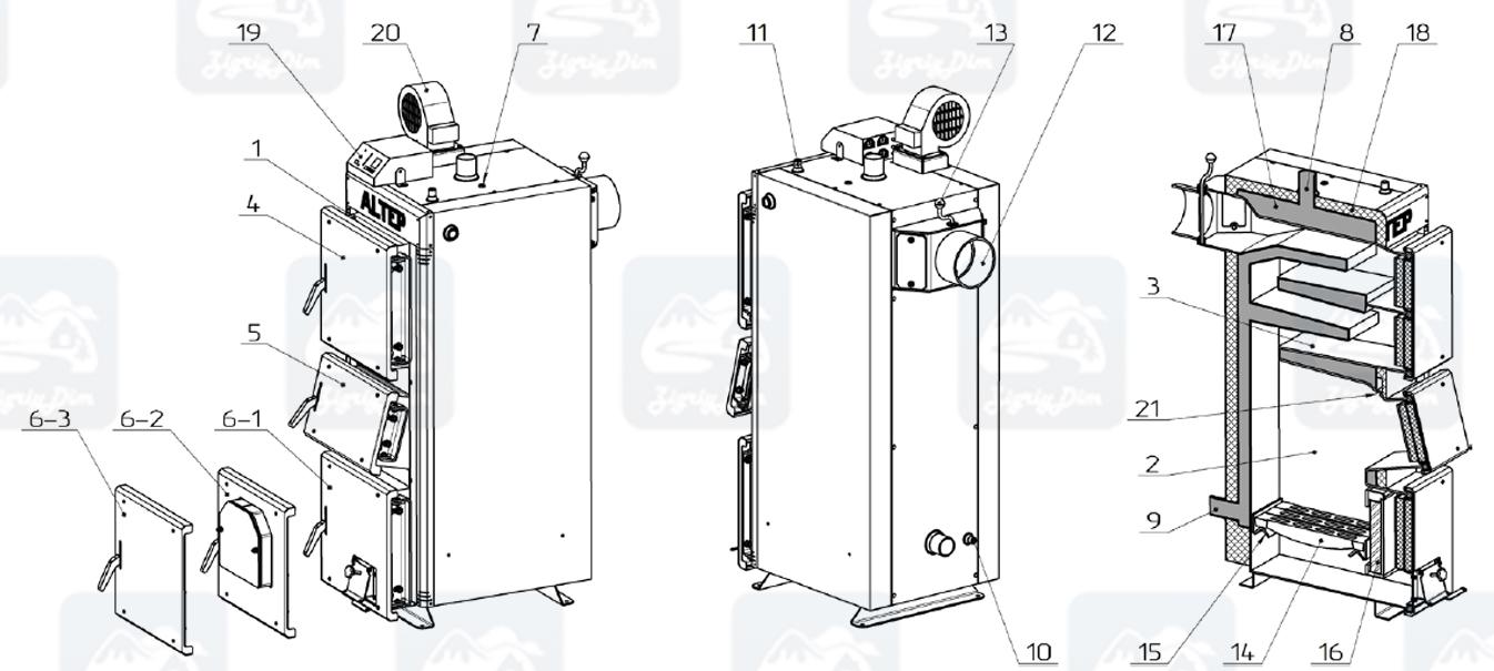 Схема твердотопливного котла длительного горения Altep KT-2EN (15-40кВт)