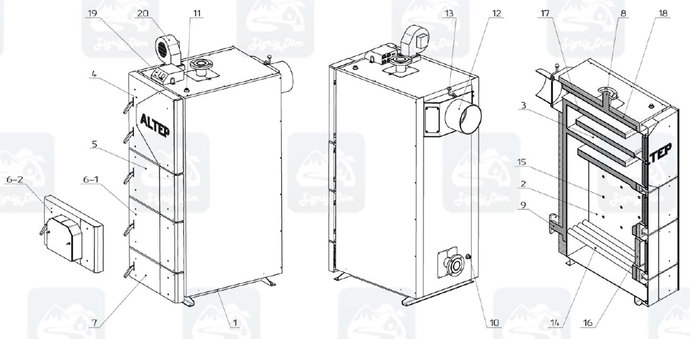 Схема твердотопливного котла длительного горения Altep KT-2EN (50-250кВт)