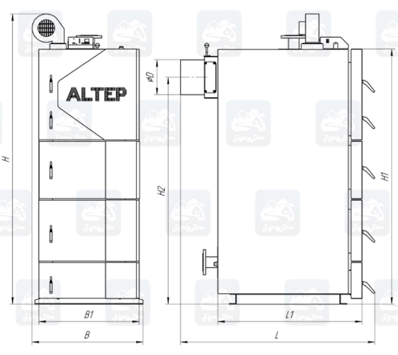 Габариты твердотопливного котла длительного горения Altep KT-2EN (50-75кВт)
