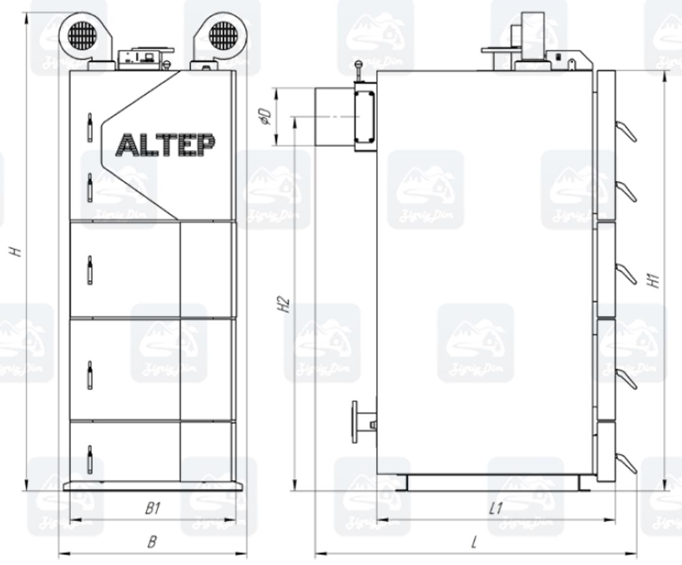 Габариты твердотопливного котла длительного горения Altep KT-2EN (95-250кВт)
