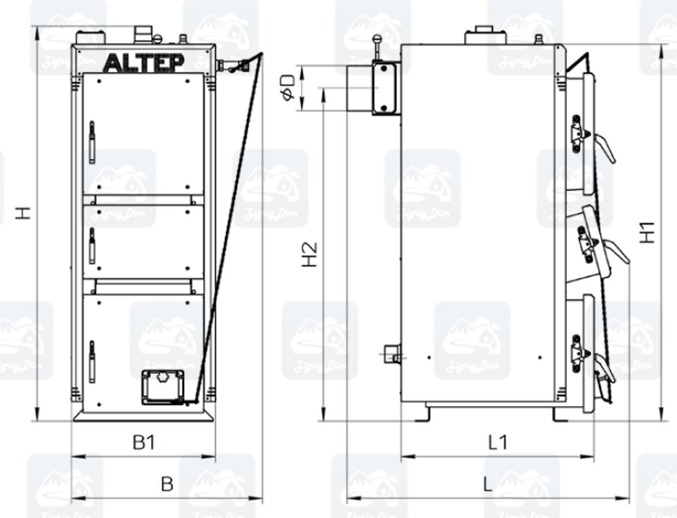 Габариты твердотопливного котла длительного горения Altep KT-2ENM (15-40кВт)