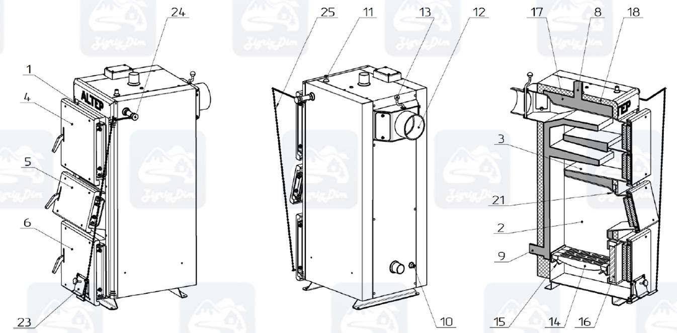 Схема твердотопливного котла длительного горения Altep KT-2E-NM (15-40 кВт)
