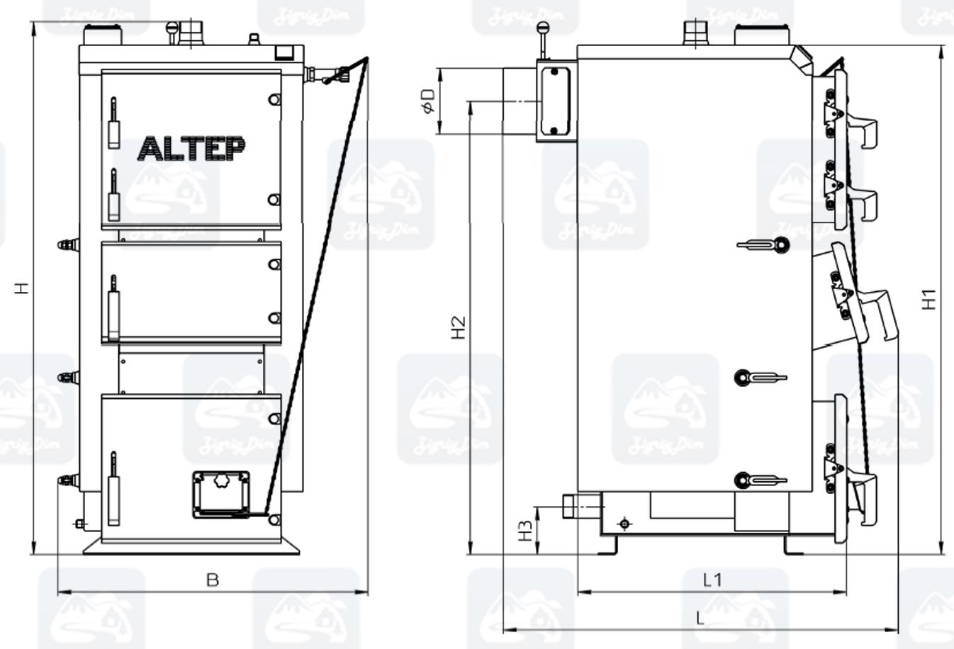 Габаритные размеры твердотопливного котла длительного горения Altep Duo (17-38кВт)