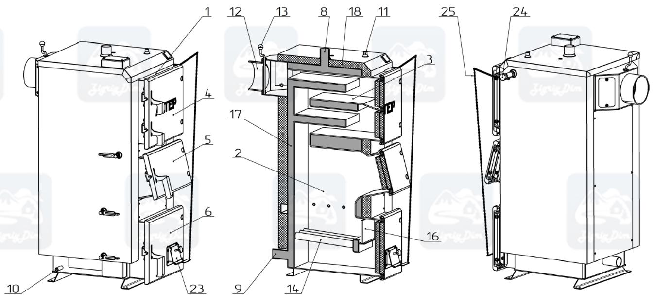 Схема твердотопливного котла длительного горения Altep Duo (17-38кВт)