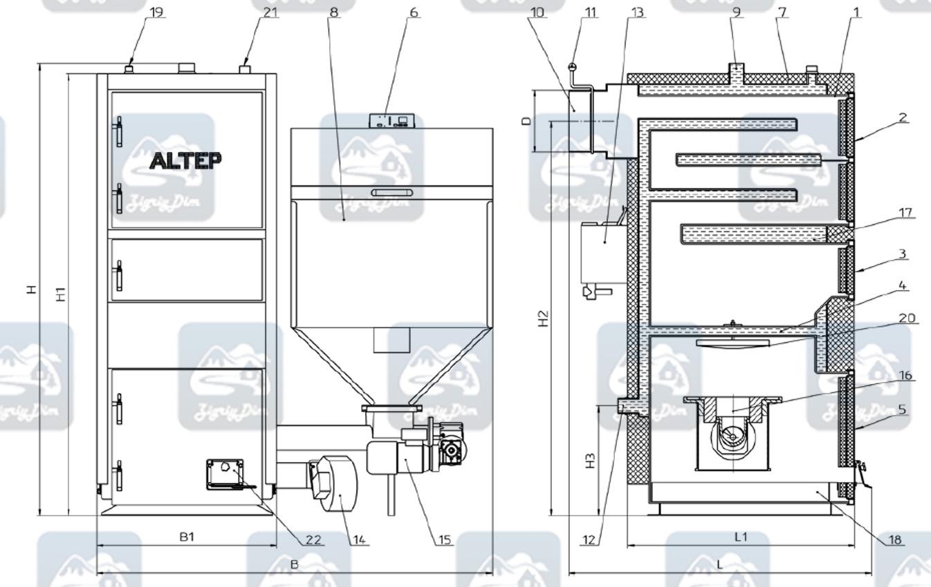 Схема и габаритные размеры пеллетного котла с автоматической подачей топлива Altep KT-2ESHN