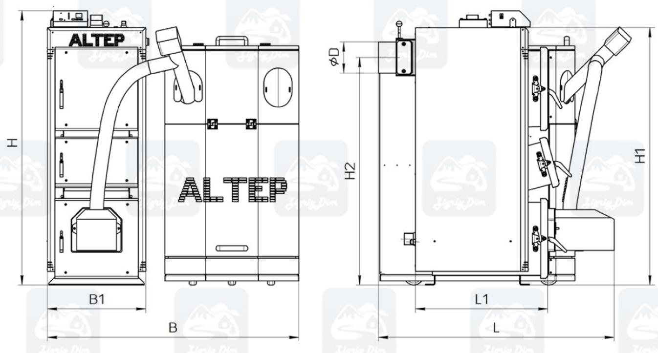 Габариты пеллетного котла Altep KT-2EPG (15-40кВт)