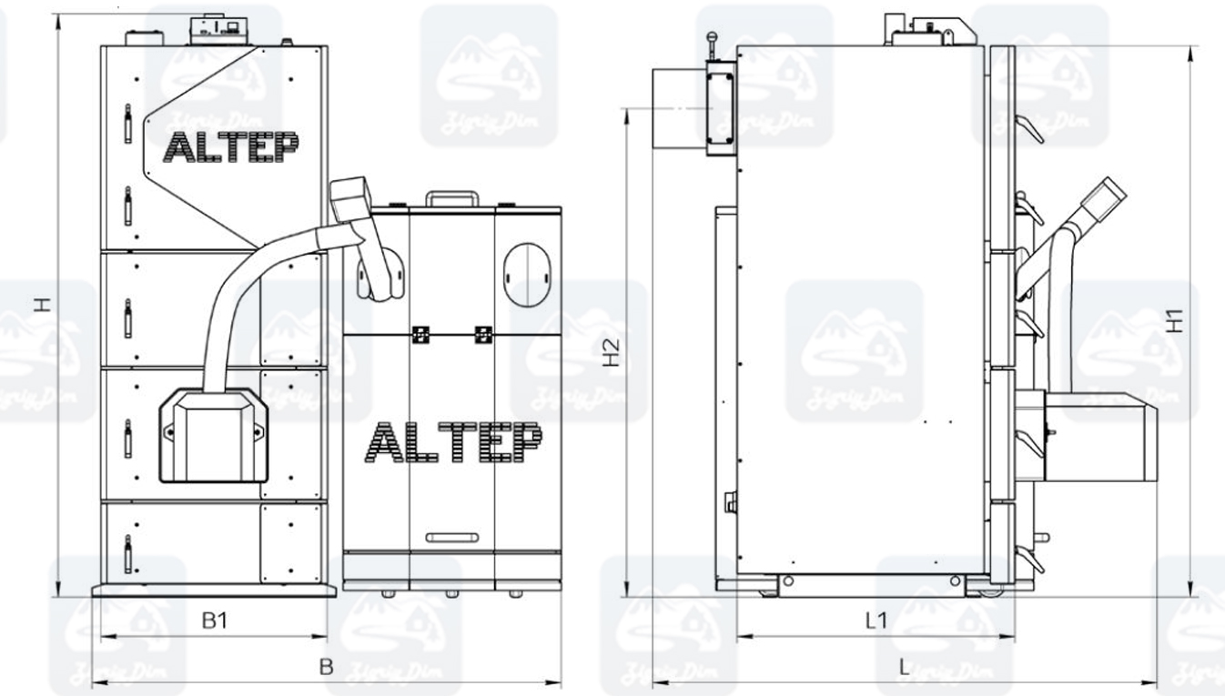 Габариты пеллетного котла Altep KT-2EPG (50-250кВт)