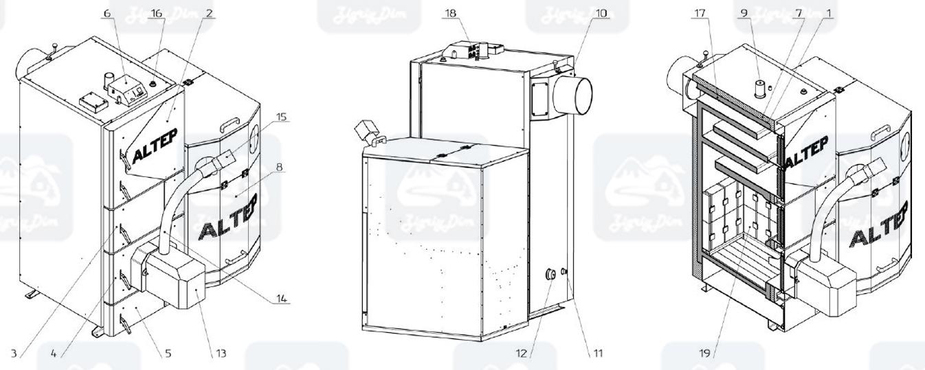 Схема пеллетного котла с автоматической подачей топлива Altep KT-2EPG (50-250кВт)