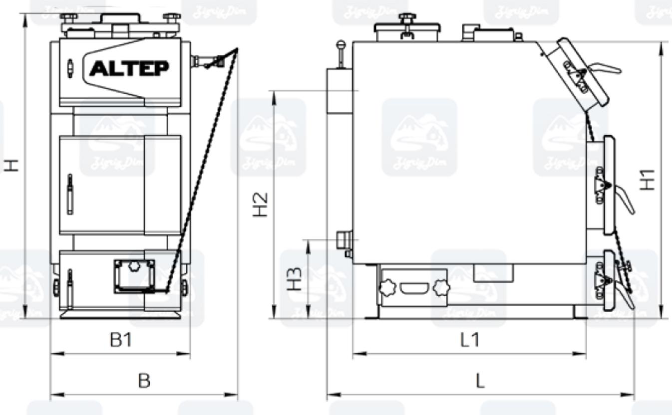 Габаритные размеры твердотопливного котла длительного горения Altep KT-3E-NM