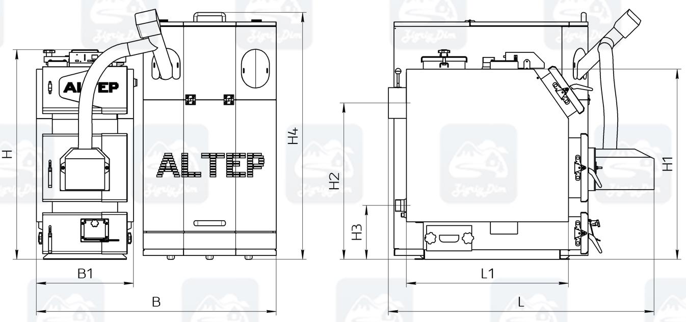 Габаритные размеры пеллетного котла с автоматической подачей топлива Altep KT-3EPG Trio Uni Pellet (14-65кВт)