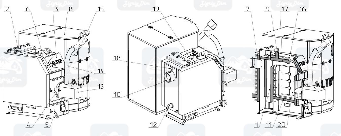Схема и габаритные размеры пеллетного котла с автоматической подачей топлива Altep KT-3EPG (14-65кВт)