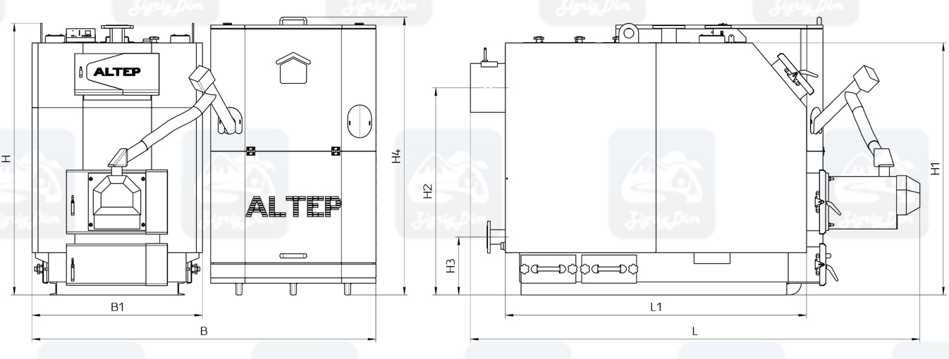 Габаритные размеры пеллетного котла с автоматической подачей топлива Altep KT-3EPG Trio Uni Pellet (150-600кВт)