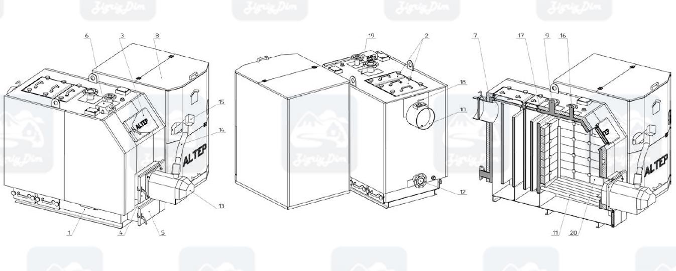 Схема и габаритные размеры пеллетного котла с автоматической подачей топлива Altep KT-3EPG (150-600кВт)