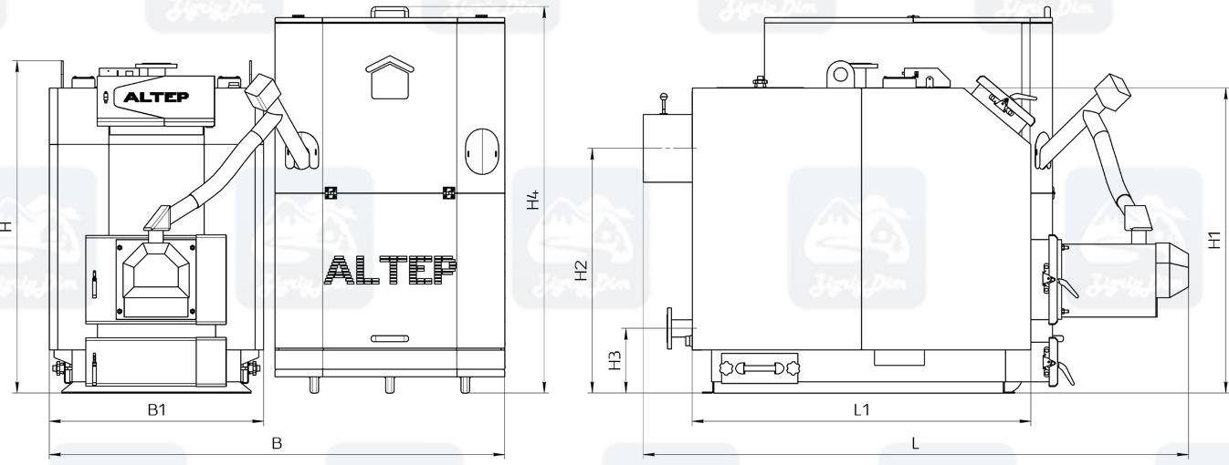 Габаритные размеры пеллетного котла с автоматической подачей топлива Altep KT-3EPG Trio Uni Pellet (80-97кВт)