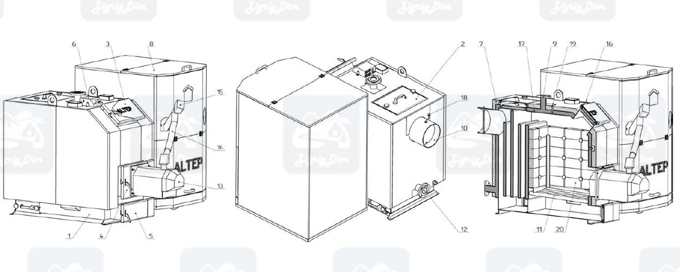 Схема и габаритные размеры пеллетного котла с автоматической подачей топлива Altep KT-3EPG (80-97кВт)