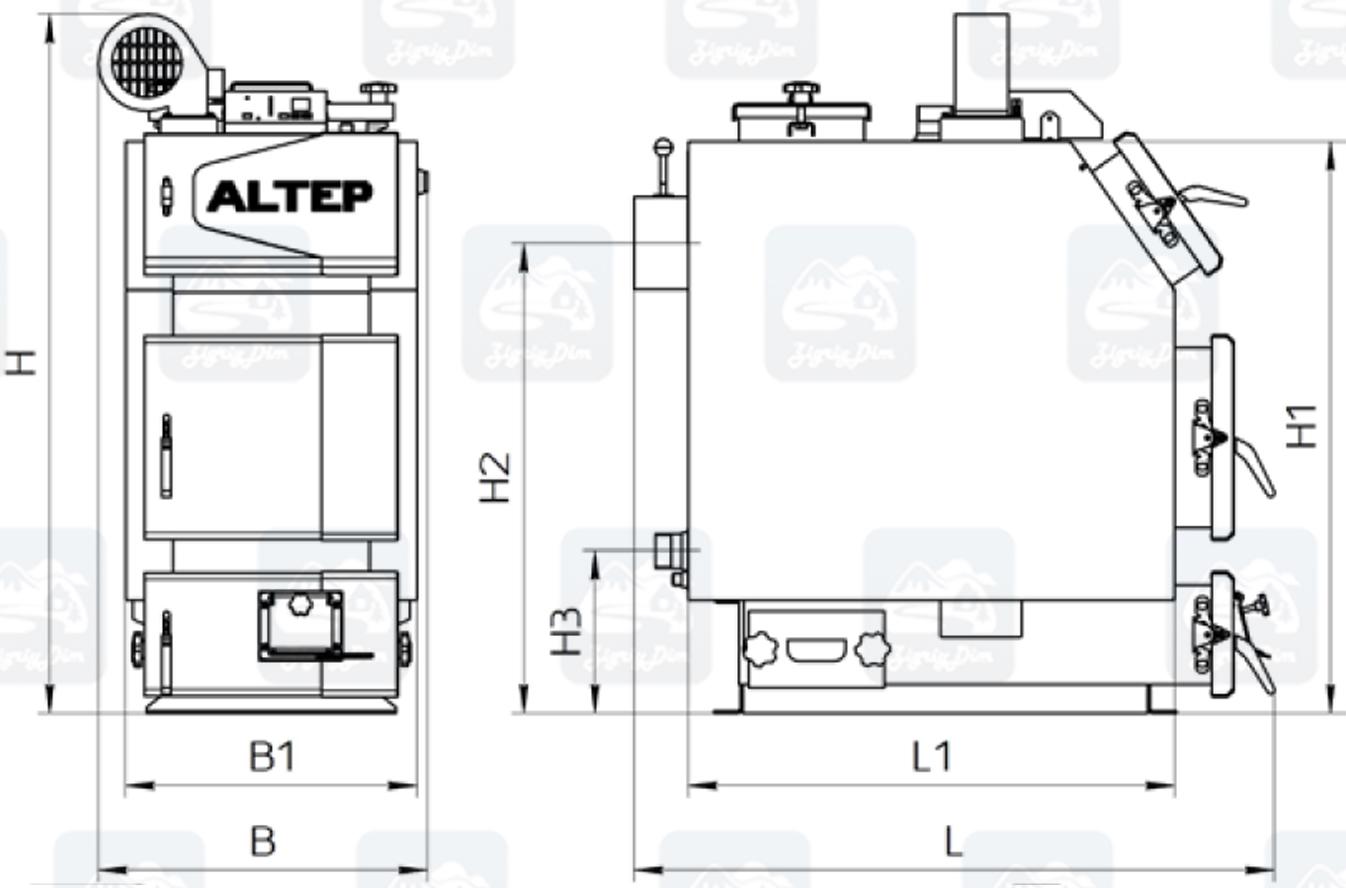Габаритные размеры твердотопливного котла длительного горения Altep KT-3EN (14-40кВт)