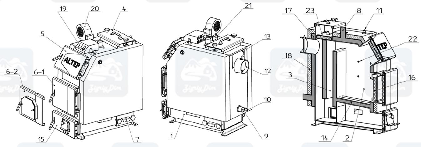 Схема твердотопливного котла длительного горения Altep KT-3EN (14-65кВт)