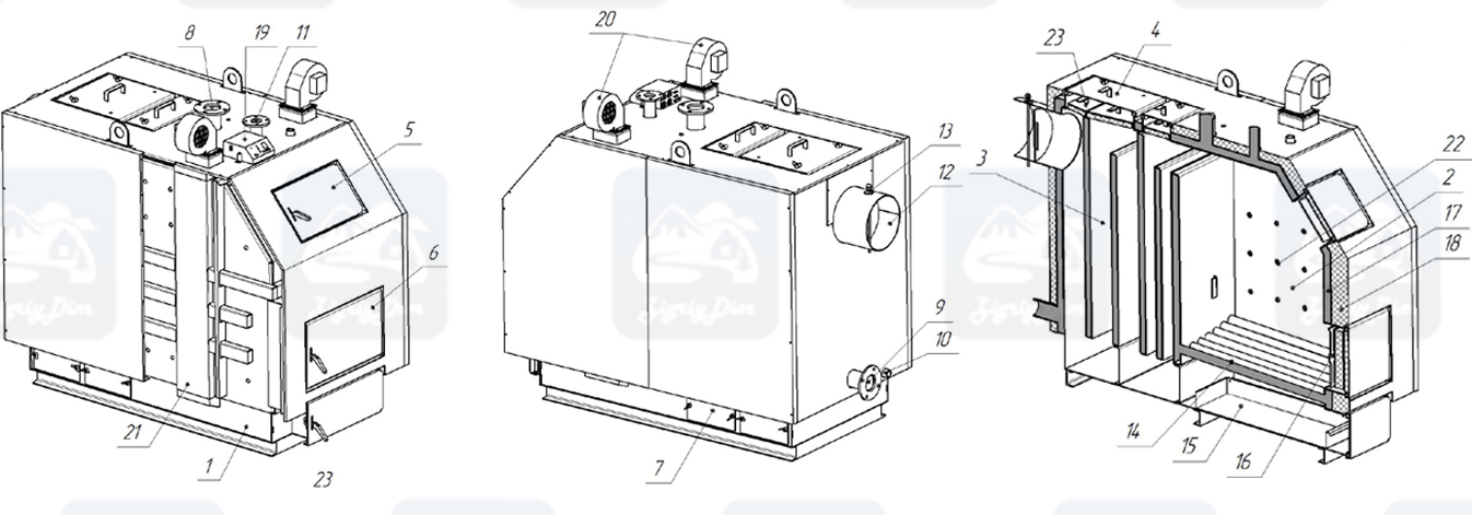 Схема твердотопливного котла длительного горения Altep KT-3EN (150-600кВт)