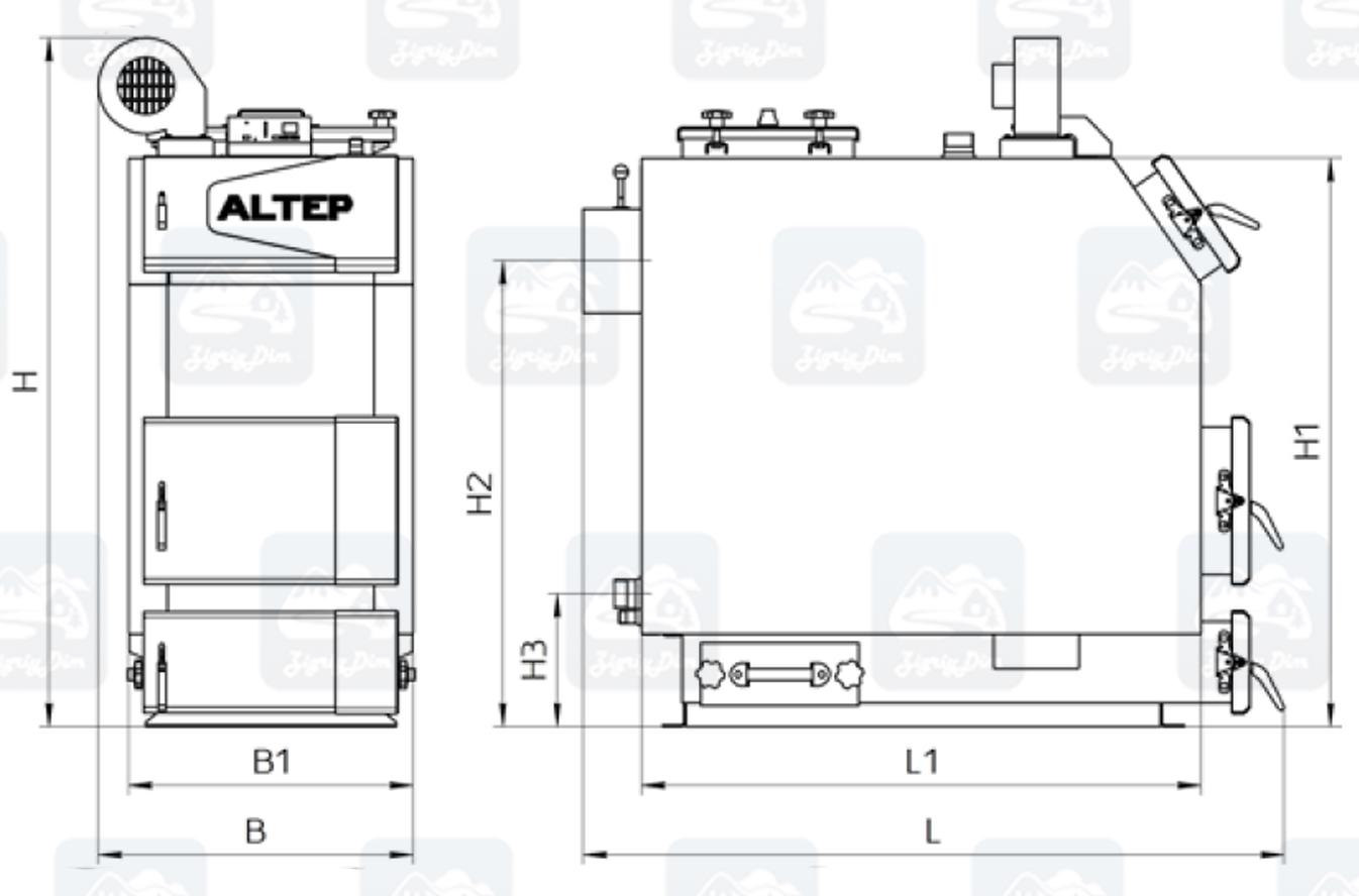 Габаритные размеры твердотопливного котла длительного горения Altep KT-3EN (50-65кВт)