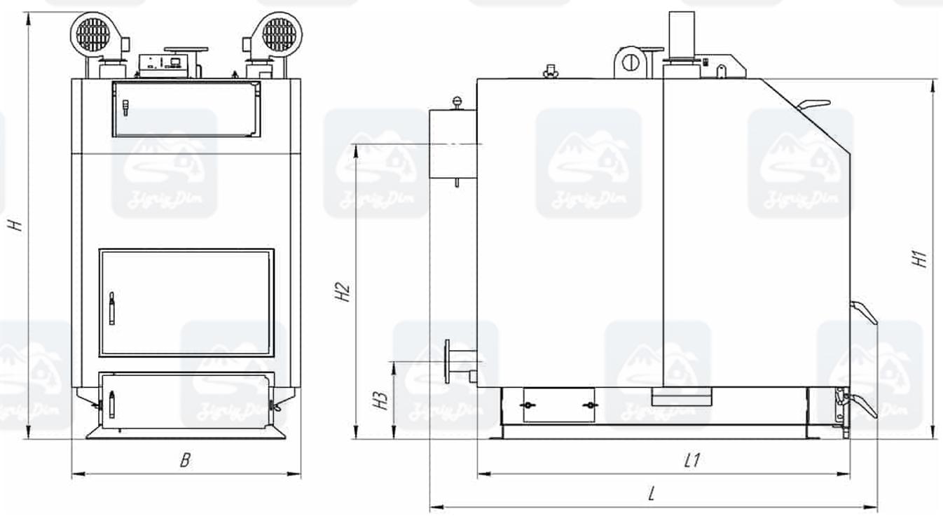 Габаритные размеры твердотопливного котла длительного горения Altep KT-3EN (80-97кВт)