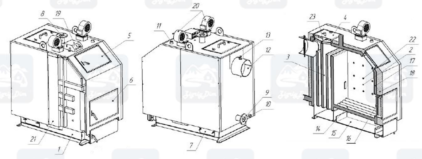 Схема твердотопливного котла длительного горения Altep KT-3EN (80-97кВт)