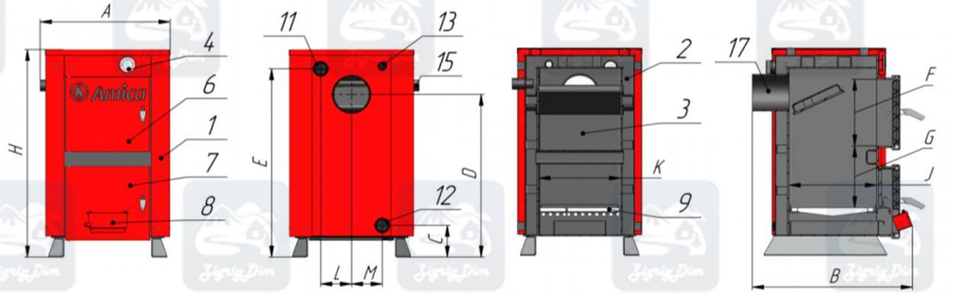 Схема твердотопливного котла на дровах и угле Amica Classic (10-12кВт)