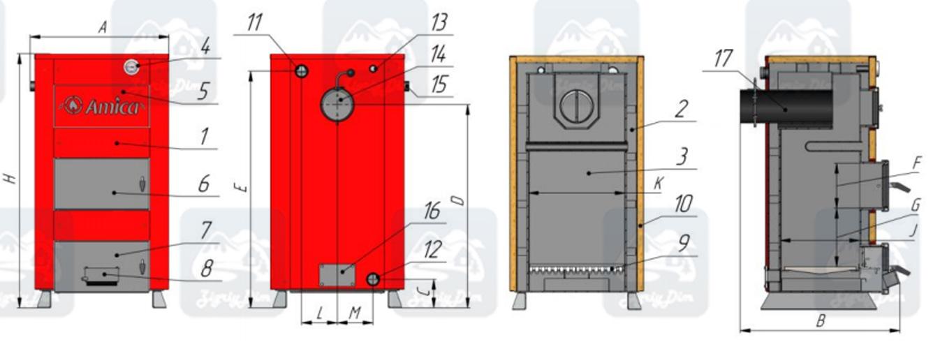 Схема твердотопливного котла на дровах и угле Amica Classic (14-30кВт)
