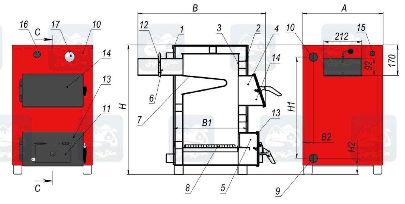 Схема твердотопливного котла на дровах и угле Amica Optima