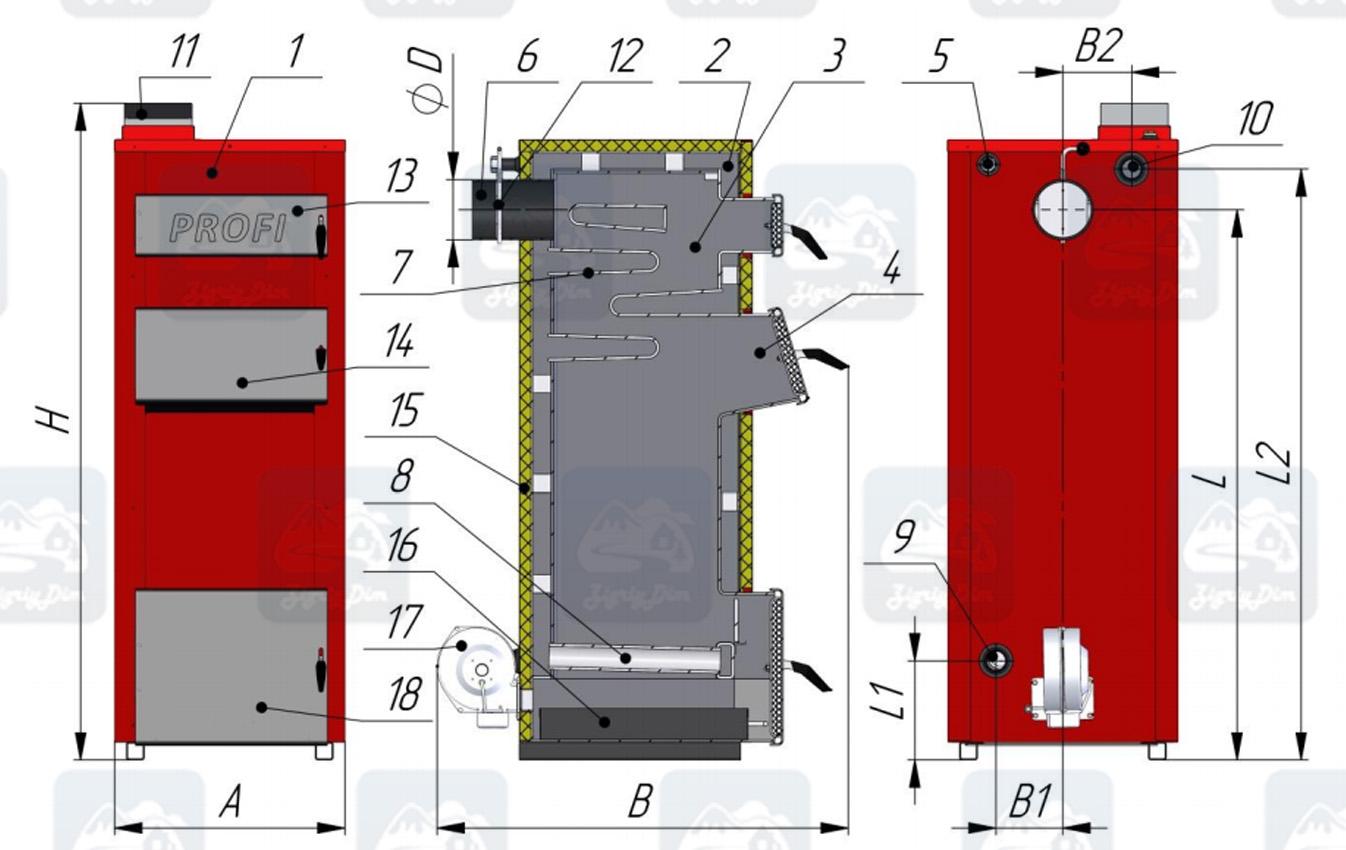 Схема твердотопливного котла на дровах и угле Amica Profi