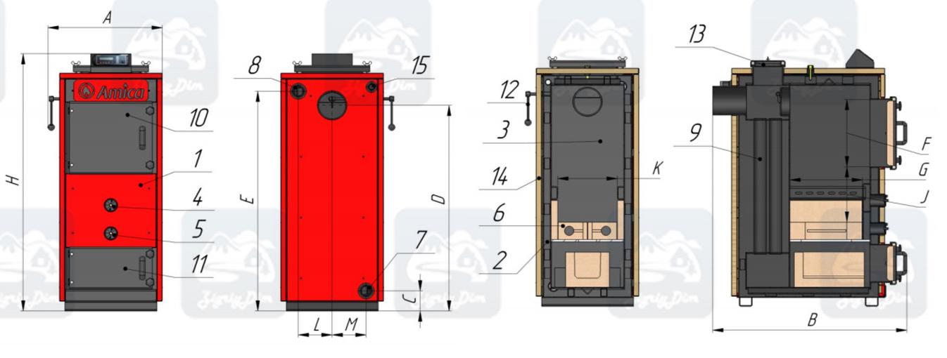 Схема пиролизного твердотопливного котла длительного горения Amica Pyro M