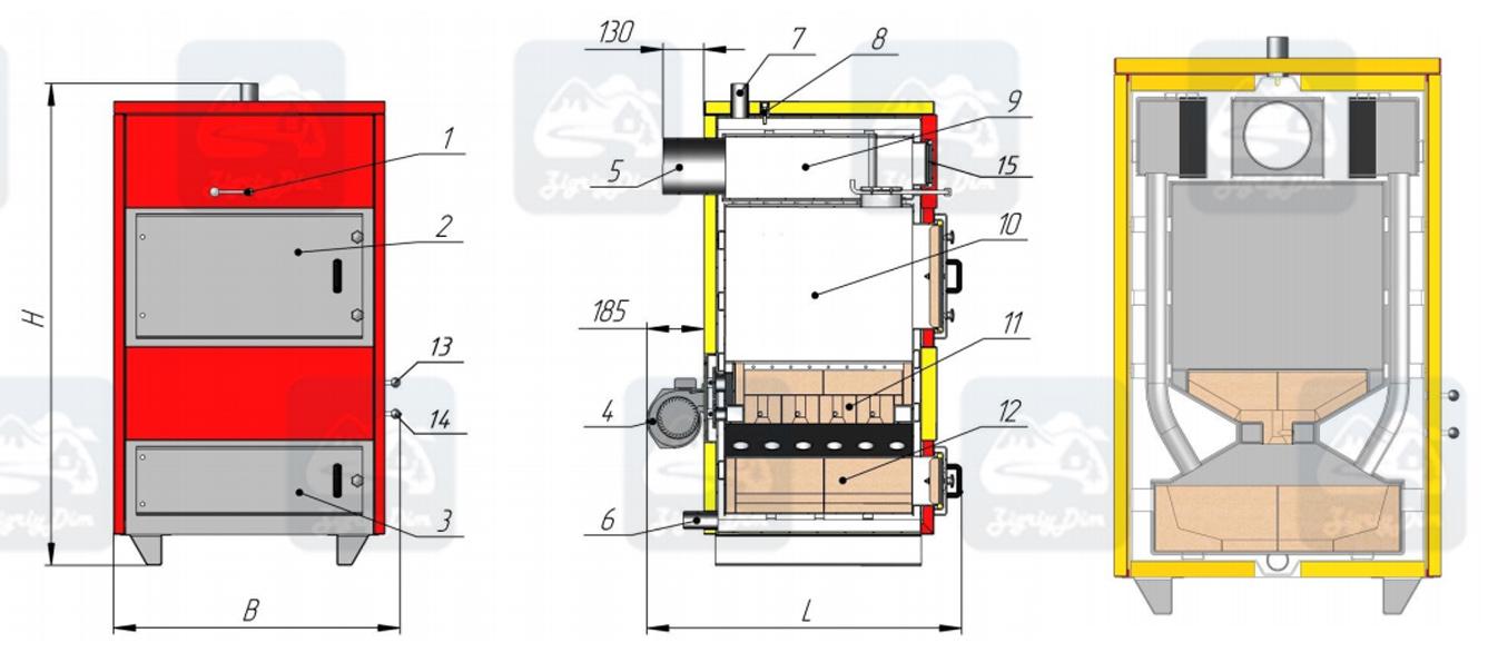 Схема пиролизного твердотопливного котла длительного горения Amica Pyro