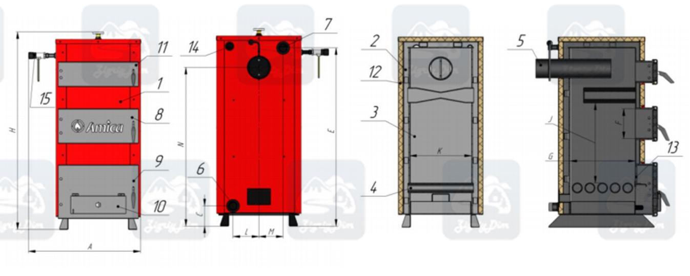 Схема твердотопливного котла на дровах и угле Amica Solid H (17-23 кВт)