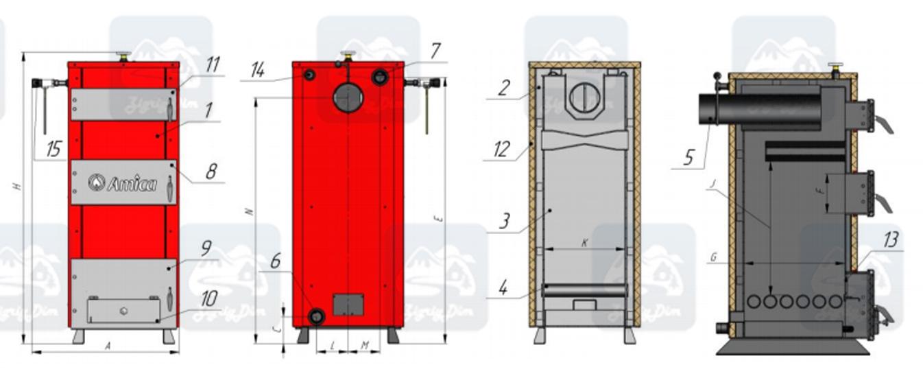Схема твердотопливного котла на дровах и угле Amica Solid H (30-45 кВт)
