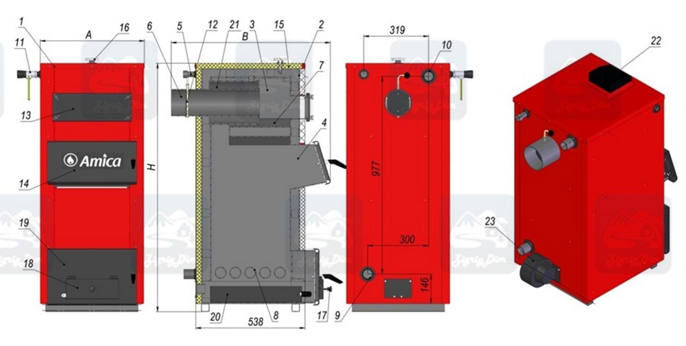 Схема твердотопливного котла на дровах и угле Amica Solid