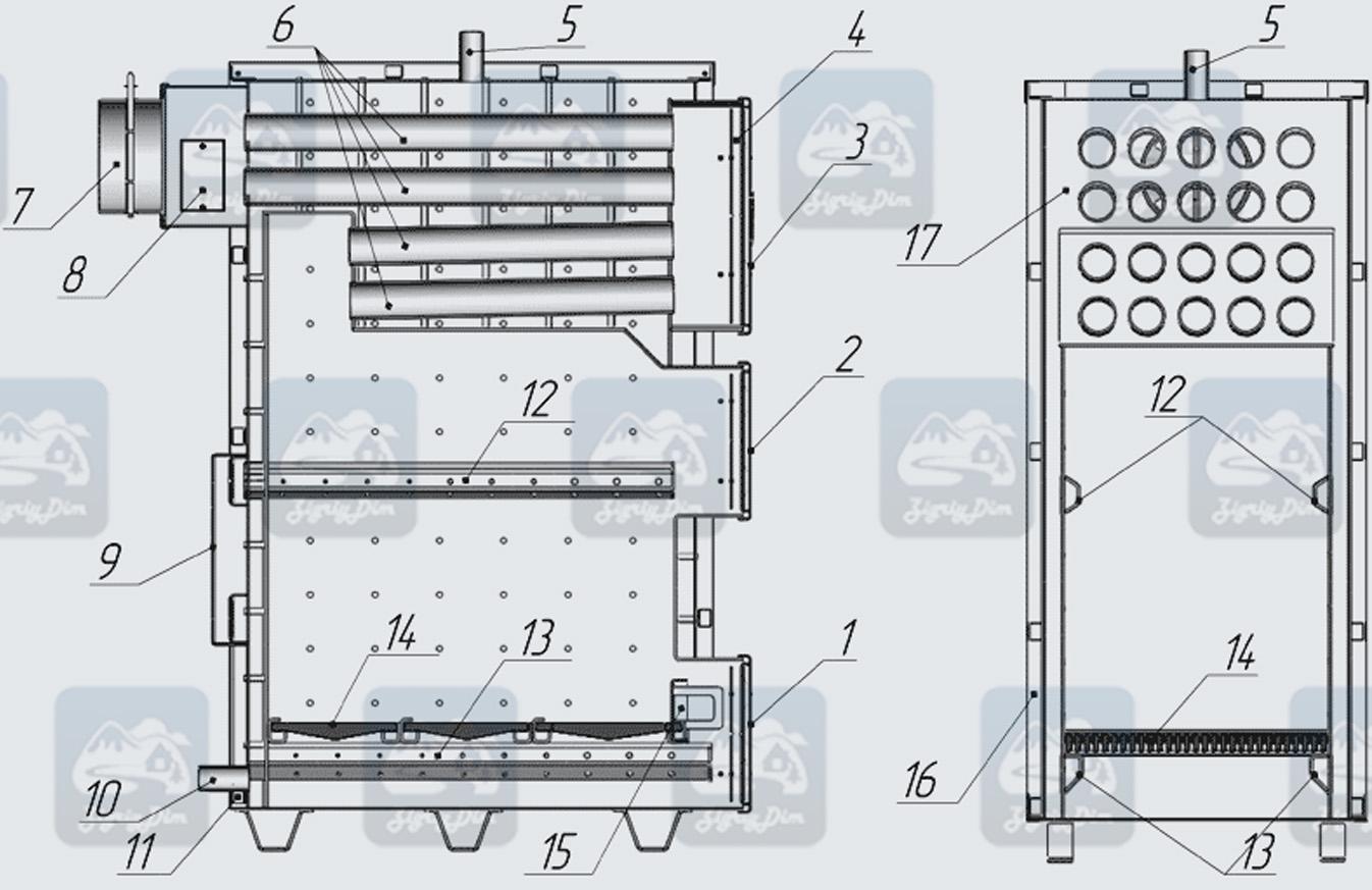 Схема твердотопливного котла длительного горения Hardy