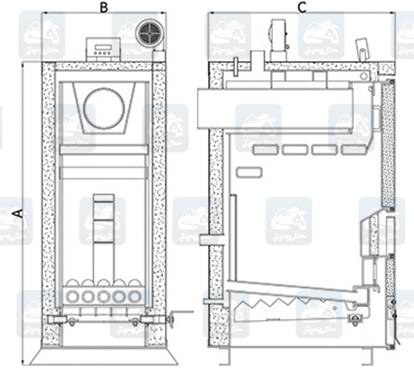 Схема котла на дровах и угле Heiztechnik Holz Plus