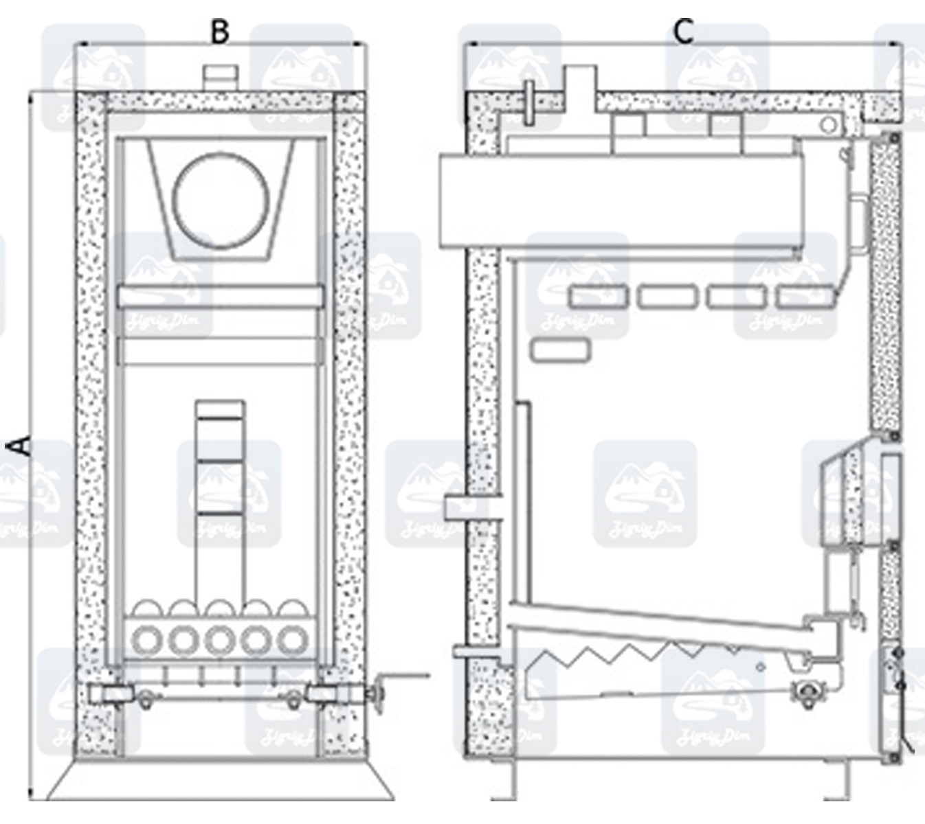Схема котла на дровах и угле Heiztechnik Holz