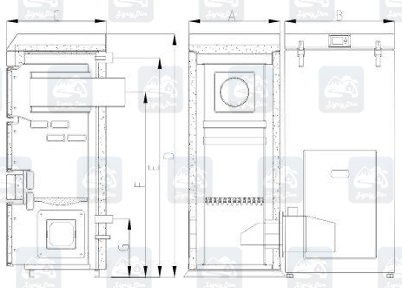 Габаритные размеры пеллетного котла с автоматической подачей топлива Heiztechnik HT DasPell