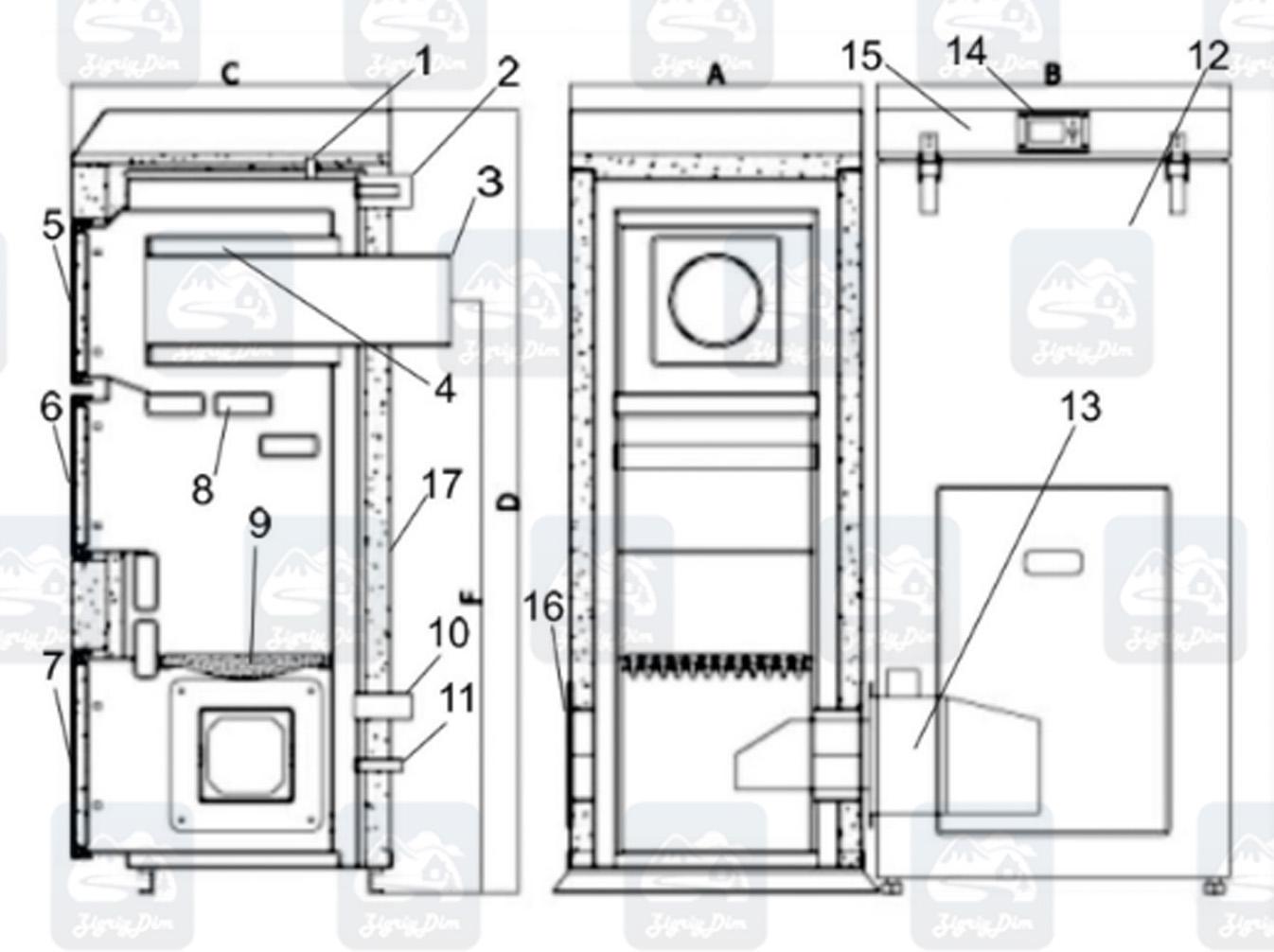 Схема пеллетного котла с автоматической подачей топлива Heiztechnik HT DasPell